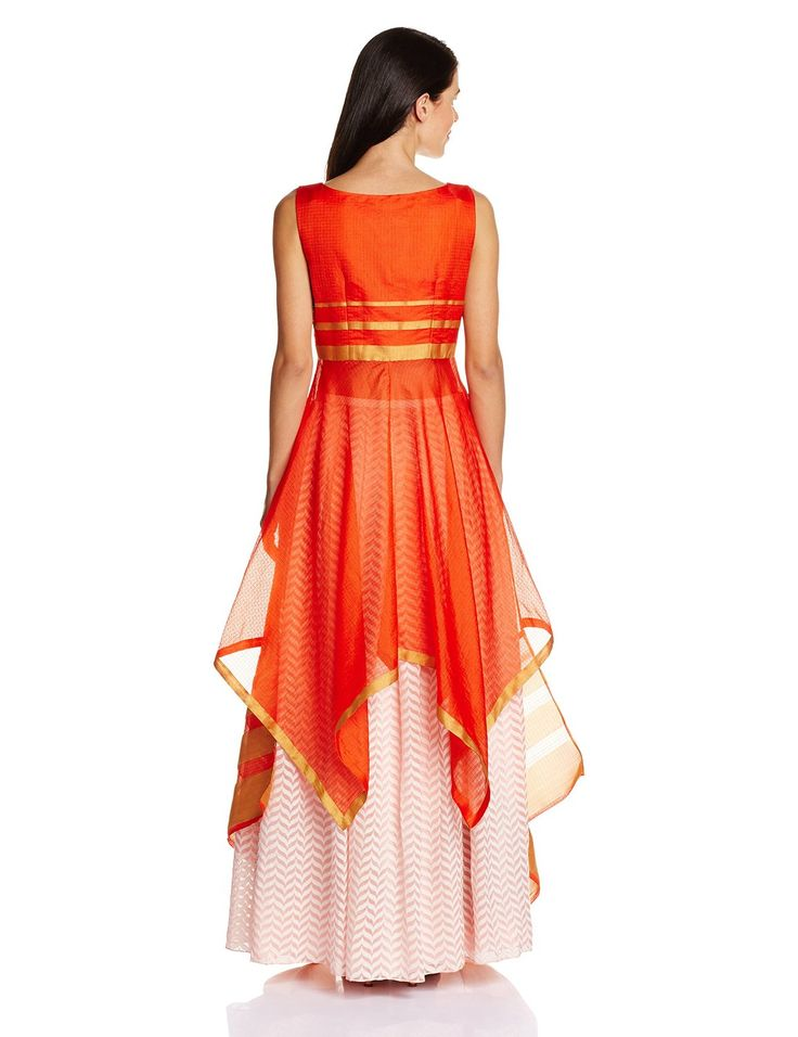 Papa Don't Preach Assymmetrical Benarsi long top with box pleat skirt (PABA26_orange_M-L): Amazon.in: Clothing & Accessories