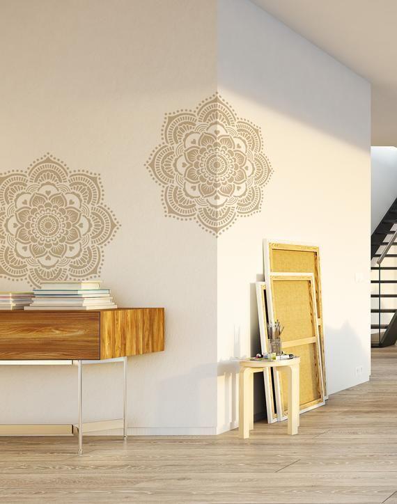 Yoga Mandala Flower Stencil Design for DIY Home Projects