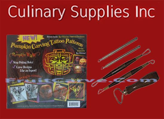 Gridiron Greatness Tattoo and Pumpkin Tools Set : Culinary Supplies Inc-USA specializing in fruit carving knives, Garde Manger Tools, Books, DVD's and foods! Find us at CulinarySupplies.Org and FruitCarve.Com