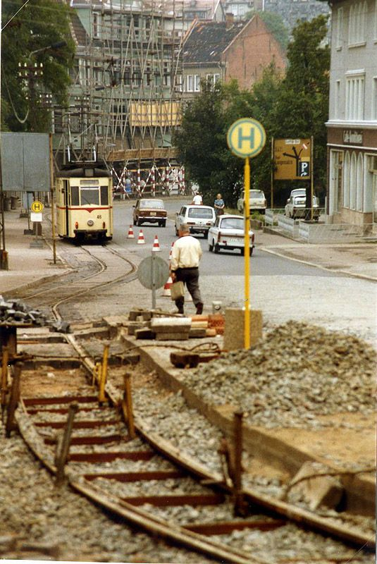 Tram track repairs in Gotha DDR, with Gotha T57 tram nr 46 | August 1989