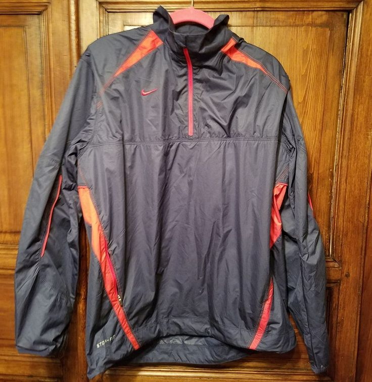 NIKE Storm-Fit Men's Light Running Athletic Golf Jacket Navy Red Size M Vented  #Nike #AthleticRunningJacket