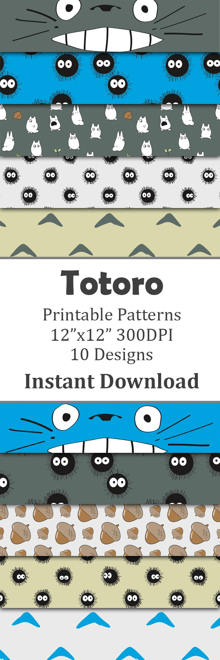 My Neighbor Totoro inspired digital paper pack perfect for scrapbooking projects, invitations, announcements, party favors, wallpapers, graphic design, stationary and paper crafts. This paper pack features your favorite dust bunnies and all three colors of totoros.