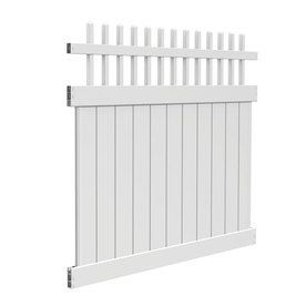FREEDOM Contractor Manchester White Gothic Semi-Privacy Vinyl Fence Panel (Common: 72-in x 6-ft; Actual: 70-in x 5.59-ft)