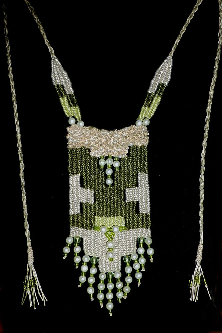 Green/Beige Pearl - 2014 - Adjustable length - Available.   Woven by Terri Scache Harris, theravenscache.shutterfly.com  Hand woven, handwoven, weaving, weave, needleweaving, pin weaving, woven necklace, fashion necklace, wearable art, fiber art.