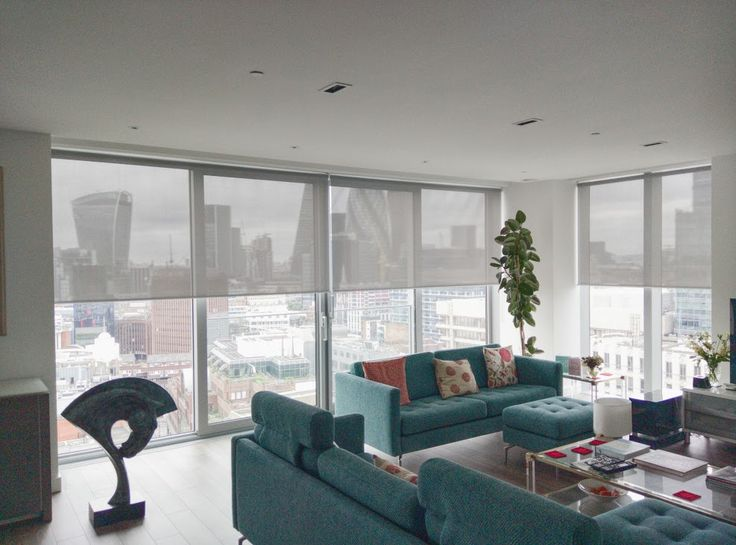 Sunscreen Roller Blinds In Steel Colour Fitted To Floor To Ceiling Windows  For A Penthouse Apartment. Living Room ...