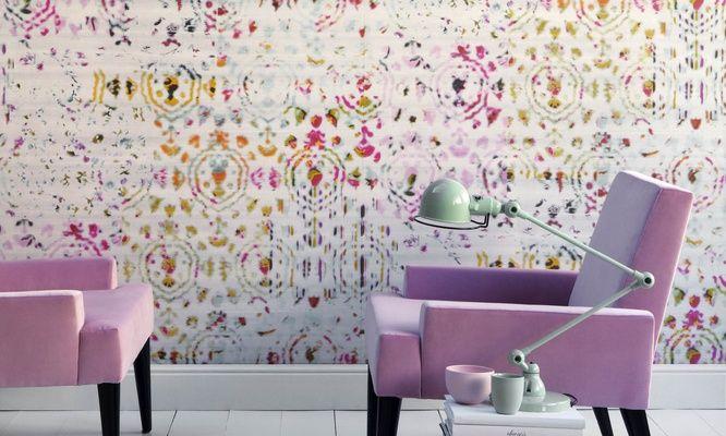 Elitis Kandy Brit Pop.  Modern abstract multicolored vinyl wallpaper.