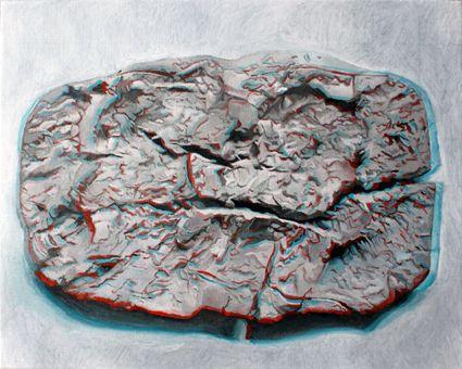 Sérgio Costa: Works - Strata #21 (3D anaglyph), 2014  oil on linen  40x50 cm