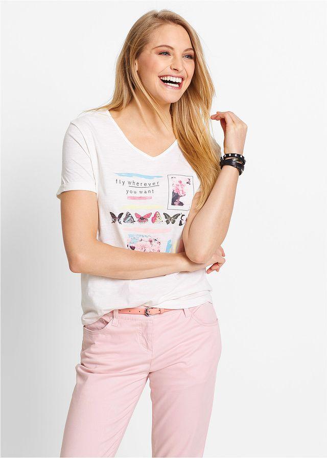 Shirt z krótkim rękawem, z przędzy mieszankowej • 34.99 zł • bonprix