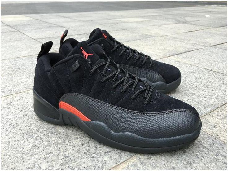 Nike Air Jordan Retro XII 12 Low Black Max Orange Men Shoes 308317-0036