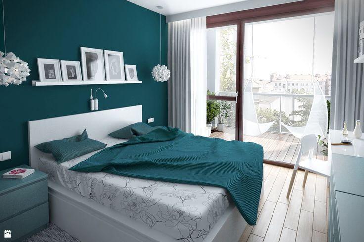 Sypialnia - zdjęcie od HOME & STYLE - Sypialnia - HOME & STYLE >>> ciemny kolor ściany w sypialni?? O tak! <3 Morskie barwy <3