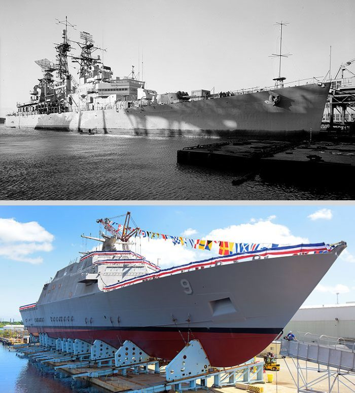 The first U.S.S. Little Rock, a Cleveland-class cruiser (top), was decommissioned in 1976 after 36 years in service & is now a museum ship in Buffalo, NY. The new U.S.S. Little Rock was built in Marinette, Wisconsin, & is the 9th littoral combat ship commissioned by the Navy. A littoral combat ship is a class of relatively small ships designed to work in shallow waters & operate with speed & agility. It will be commissioned for active duty on Dec. 16, 2017 in Buffalo.