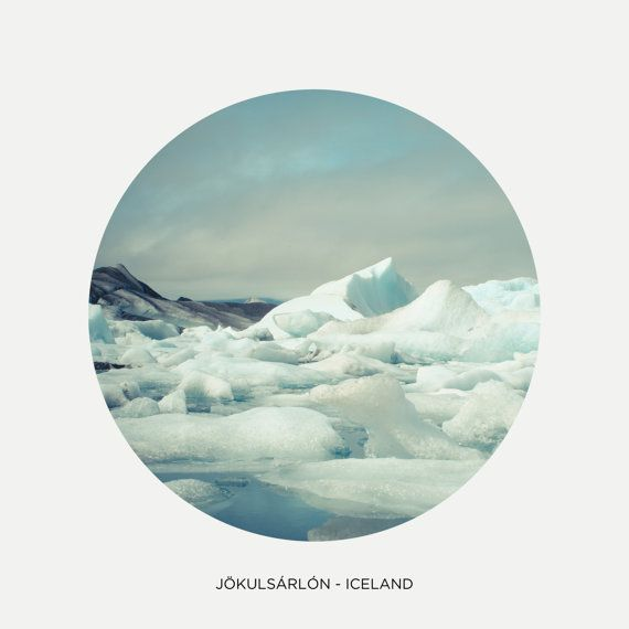 "Jökulsárlón lake, Circle picture, Iceland photography, Northern icebergs, Nordic art print, Scandinavia, 8"" x 8"", 20 cm x 20 cm"