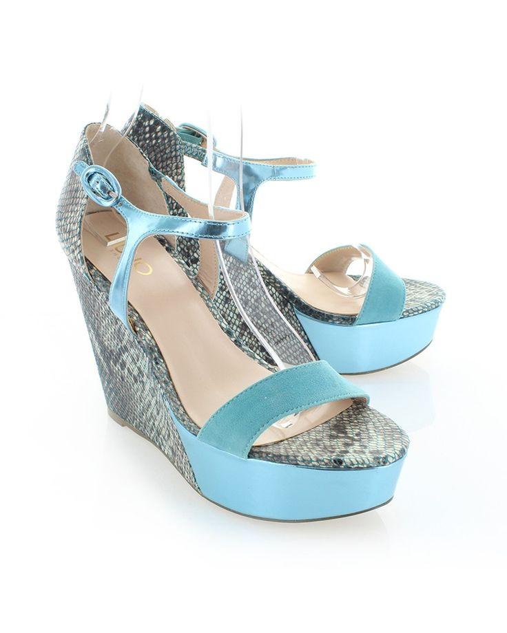 Modro-hnedé platformové sandále Liu Jo Zeppa Eva - Platformy - Topánky - Výpredaj | Topankovo.sk