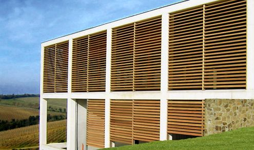 Wooden sun louvre first in flight museum pinterest hunter douglas building products and for Hunter douglas exterior sun shades