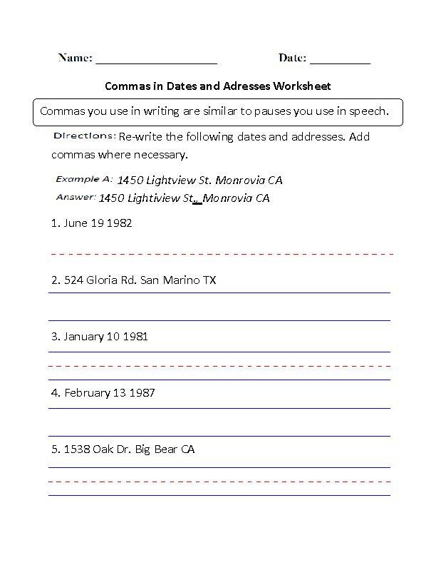 commas in dates and addresses worksheet board pinterest worksheets. Black Bedroom Furniture Sets. Home Design Ideas