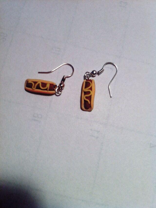 Hotdogs earrings FIMO clay