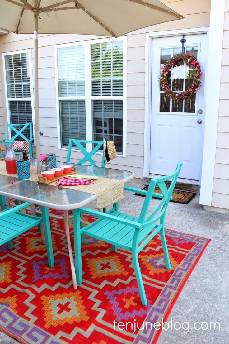 Ten June: Colorful Outdoor Patio Makeover Reveal // Lulu & Georgia Tangiers Indoor/Outdoor Rug // #landgathome #luluandgeorgia