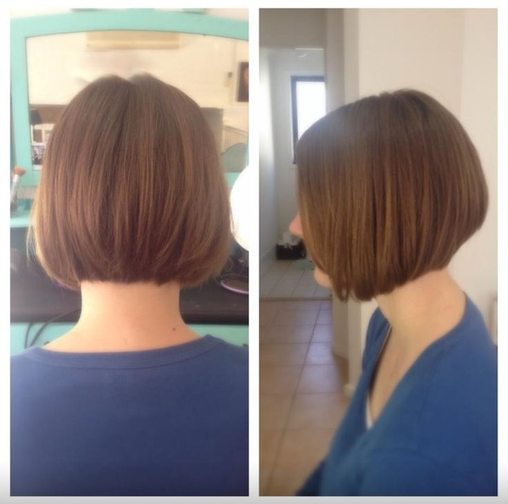 Concave diagonal forward haircut back and side view