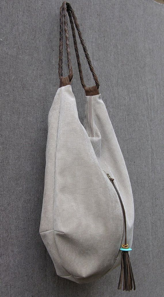 stone canvas and Leather Tote, Extra Large Handbag, Hobo Bag, Shoulder Bag