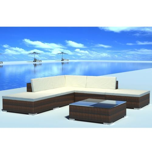 6PC Outdoor Furniture Sectional PE Wicker Patio Rattan Sofa Set Couch Brown  in Home & Garden