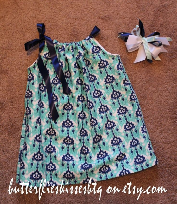 Handmade dress size 3-4T pillowcase style bow navy green toddlers girls gifts  #Handmade #pillowcasestyle #CasualFormalParty