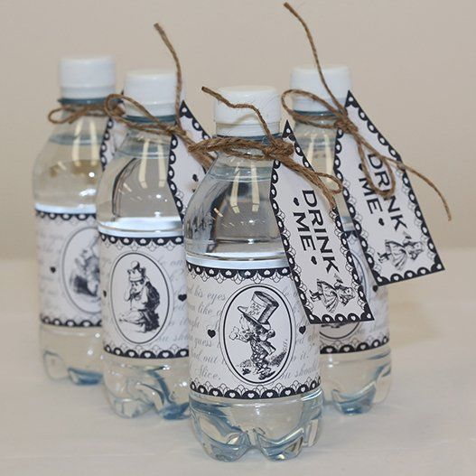 Mad Hatter Bottle Wraps & Tags - Downloadable templates available here http://www.partyideasuk.co.uk/library/party-themes/mad-hatter-tea-party-ideas/mad-hatter-bottle-wraps-tags.aspx