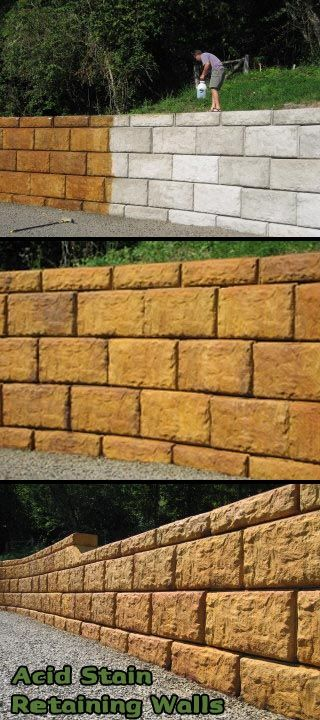 Acid Stain Retaining Walls Don T Leave Them Gray Here About Larry And Tina S Experience The Products They Used For This Outstanding Diy Project