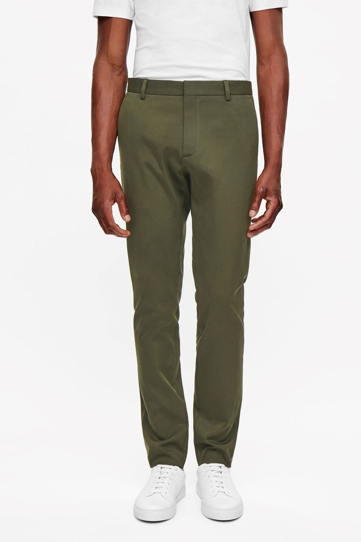 COS image 7 of Slim-fit cotton trousers in Khaki Green