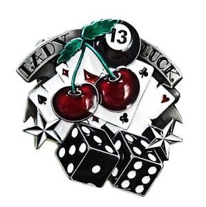 Buckle Gürtelschnalle Lady Luck 13 Poker Rockabilly Tattoo Gamble ...