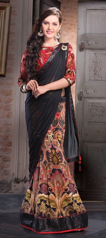 133890, Saree, Georgette, Patch, Lace, Printed, Black and Grey Color Family