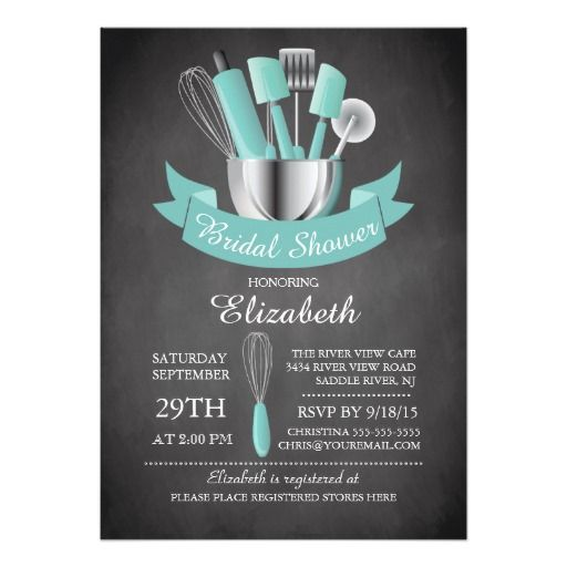 Modern Chalkboard 5x7 Stock The Kitchen Bridal Shower Invitations. Artwork designed by invitationstop.