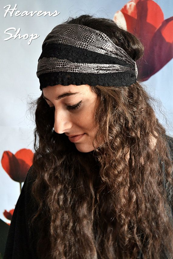 Double Colored Headband Grey And Black Futuristic by HeavensShop