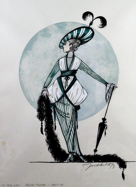 My Fair Lady (Ascot scene). 1979 Revival at the Adelphi Theatre. Costume design by Tim Goodchild.