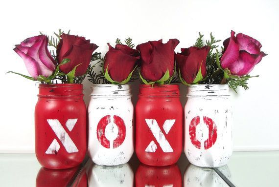 Valentines Day Decor Mason Jar Home Decor Festive by curiouscarrie