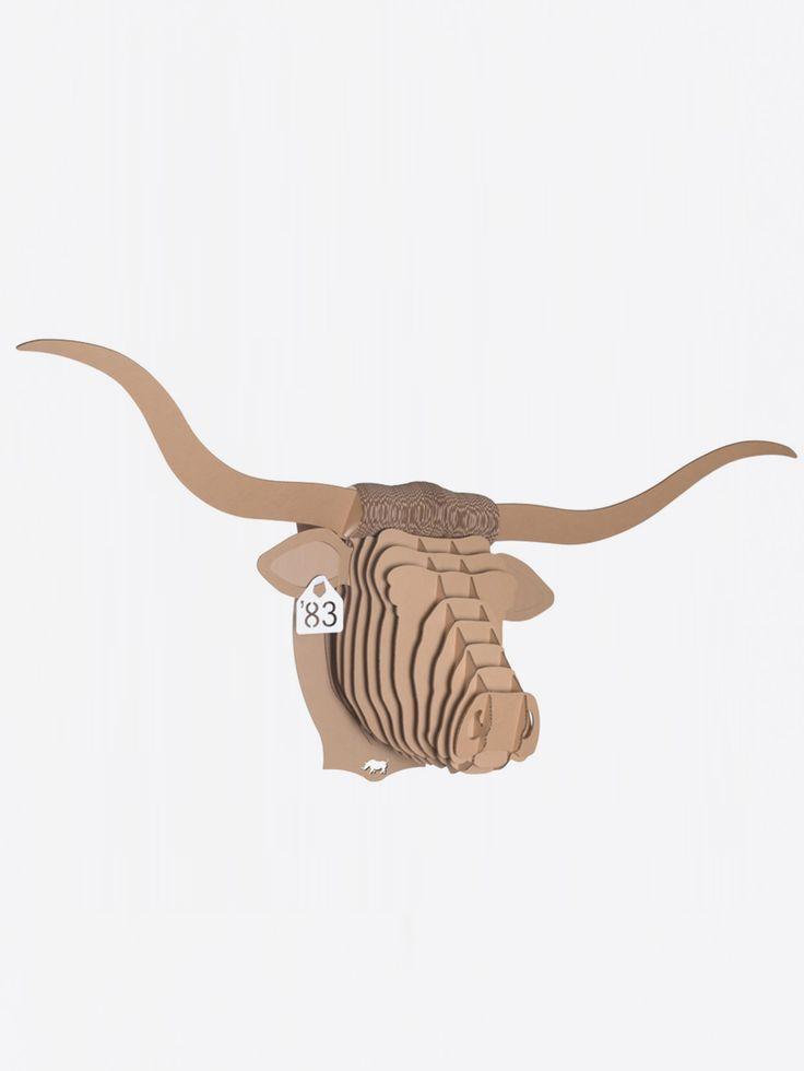 CARDBOARD SAFARI , Tex Longhorn Bust Kahverengi Karton Hayvan Kafası Large #shopigo#shopigono17#availableonsite#decoration#design#style#fashion#lifestyle