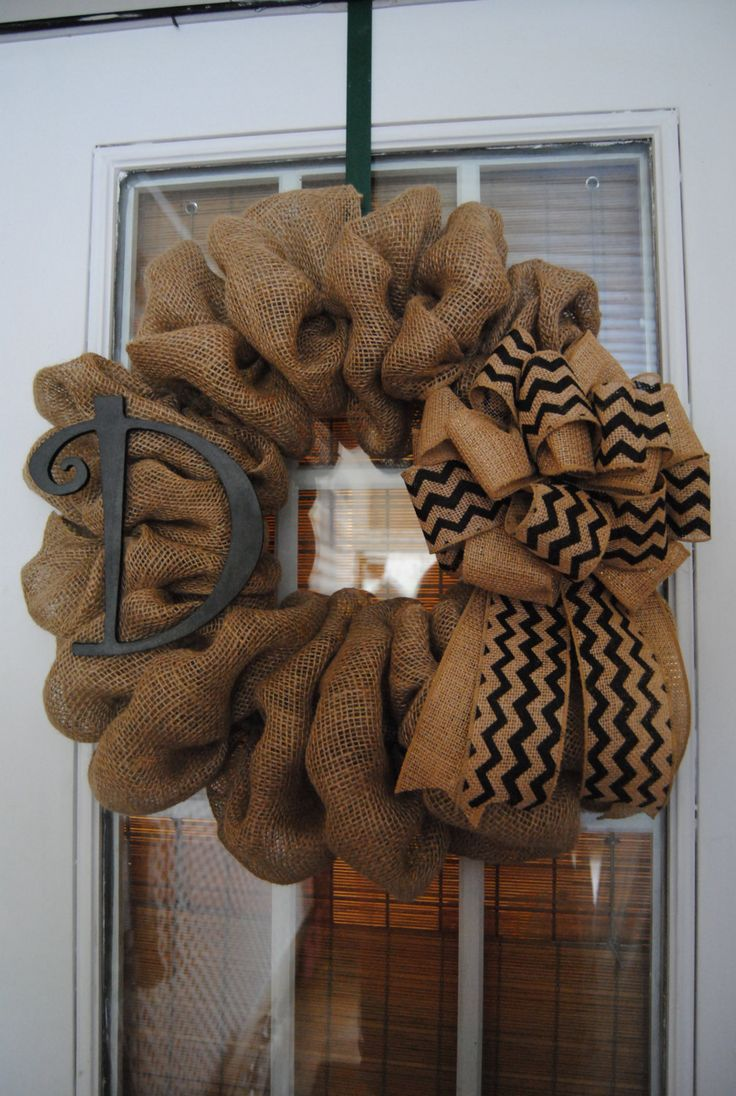 Personalized Burlap Initial Wreath with Chevron Bow Customize anyway you want Monogrammed - pinned by pin4etsy.com