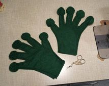 Upcycled Steampunk Clothing - Green Frog Gloves - Child Size - Felt, Fleece or Jersey Knit Fabric - Princess and the Frog Costume Piece