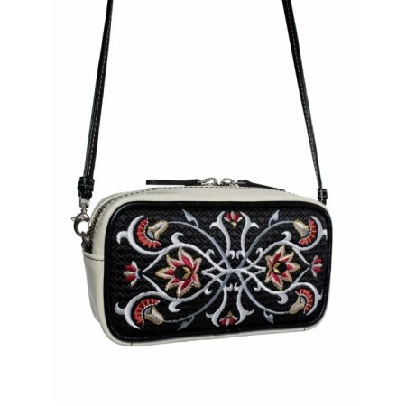 Very elegant small bag with front embroidery - original Goshico design.  Made from high quality full grain leather. Has a jacquard, grey lining inside. It comes with a thin clip hook belt.