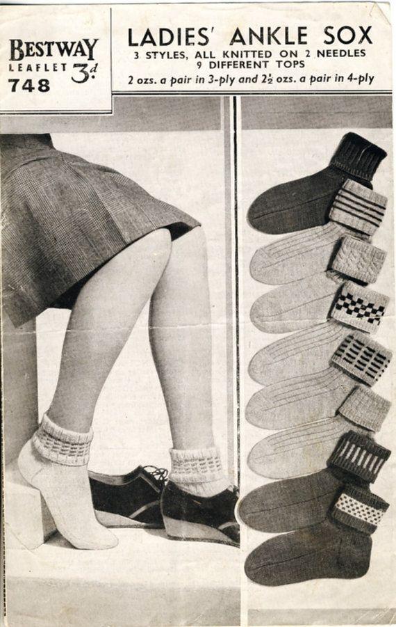 1940s Bestway 748 Ladies' Ankle Sox Knitting leaflet, by PatternaliaVintage