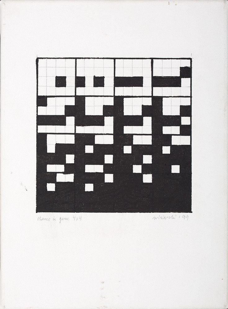 RYSZARD WINIARSKI (1936 - 2006)  CHANCE IN GAME 4X4, 1999   olej, ołówek, płótno / 32,5 x 24 cm  sygn. l.d.: Chance in game 4x4, p.d.: winiarski ' 99  sygn. na odwrocie: Winiarski / 8.11.1999