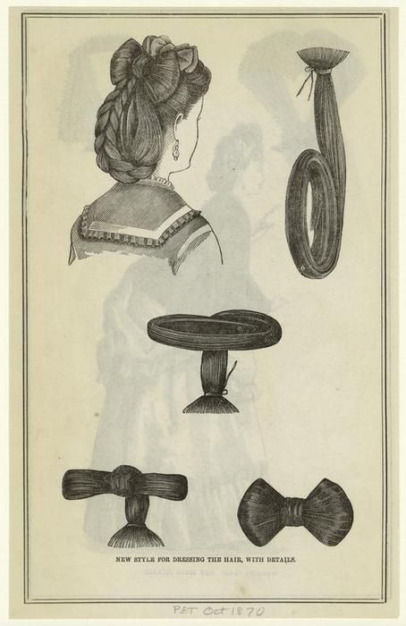 New style for dressing the hair, with details. Originally from The Peterson Magazine, October, 1870.  Via the NYPL.     Victorian Gaga!