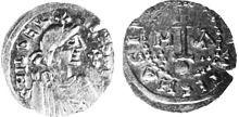 Sou d'or de Childéric II (avers et revers) frappé à Marseille.- CHILDERIC II…
