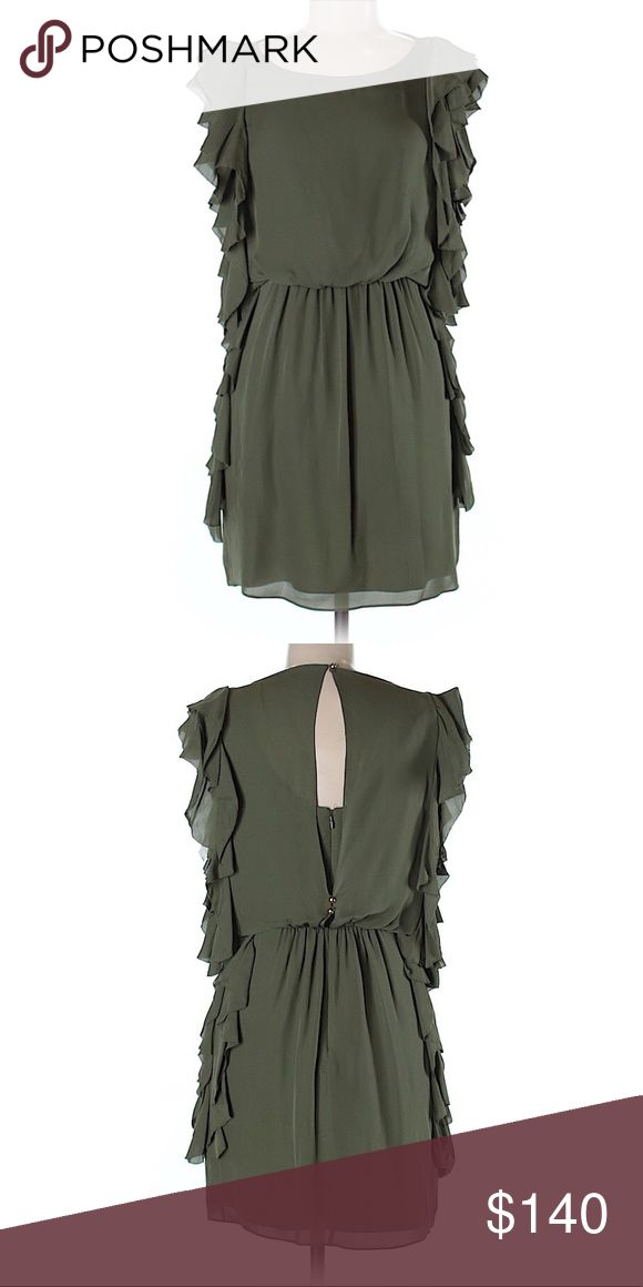 """Tibi Dress...Sz: 6...Color: Dark Green...$259 Description: A-Line silhouette Short Boat neckline Short sleeves Dark Green Solid Ruffle accents Dry clean only  Measurements: Size 6 22"""" Chest, 32"""" Length  Materials: 100% Silk  Condition: This item is brand new with tags still attached. Tibi Dresses"""