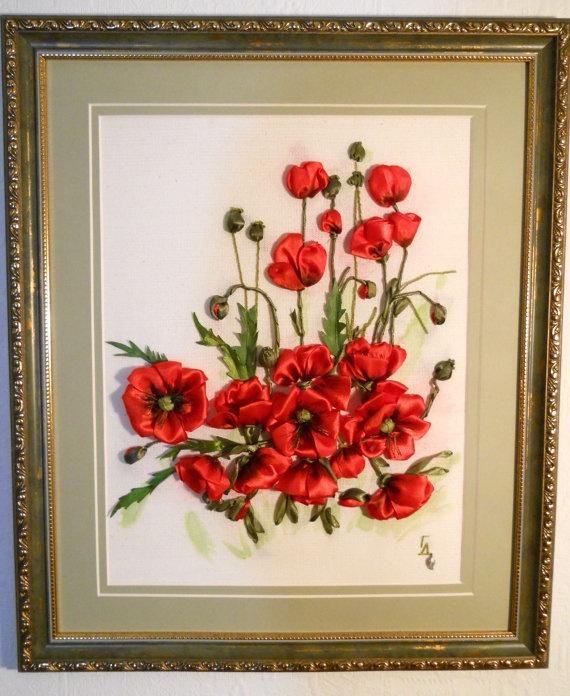 Ribbon embroidery, Poppy Blossom. $140.00, via Etsy.