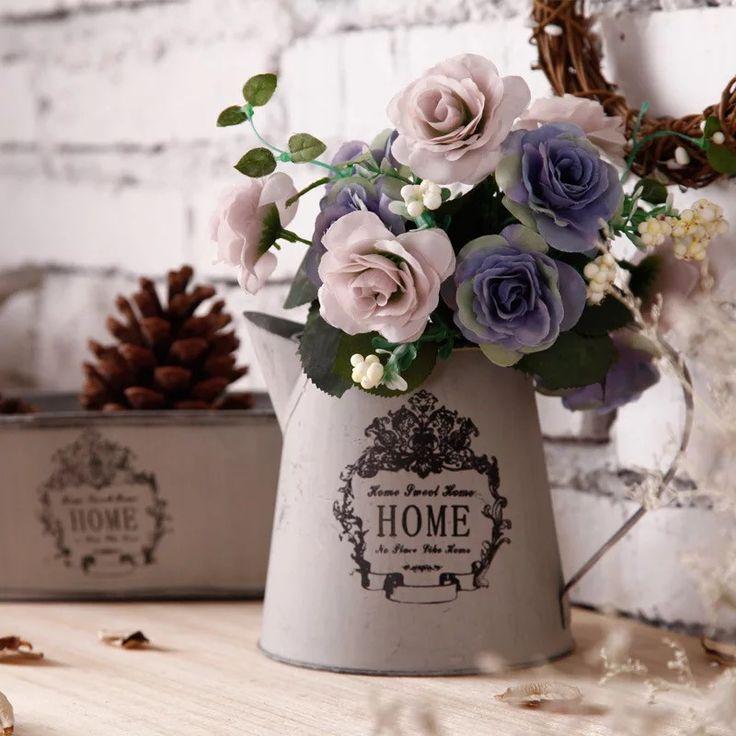 Французский страна доставка серого чугуна, металла краской горшки ретро сделать старый кованого железа цветок садоводство полива купить на AliExpress
