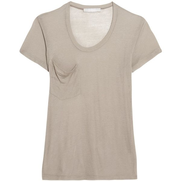 Kain - Modal And Silk-blend T-shirt ($48) ❤ liked on Polyvore featuring tops, t-shirts, mushroom, brown top, slouchy tops, slouch tee, jersey top and pocket t shirts