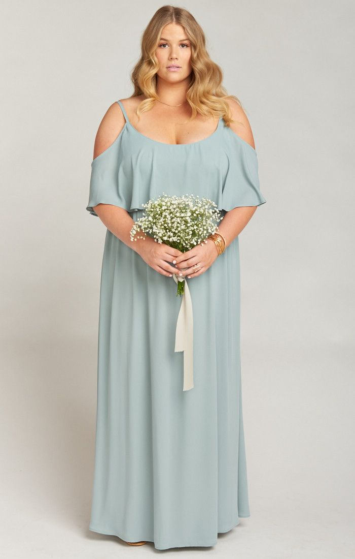 44a16115bb80 Show Me Your Mumu Caitlin Ruffle Maxi Dress ~ Silver Sage Crisp in 2019 |  Moon and Stars | Dresses, Bridesmaid dresses plus size, Bridesmaid dresses