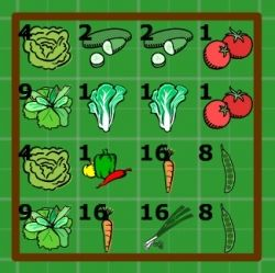 salad garden in 4x4 raised bed: Each square foot is planted with one, four, nine or sixteen of the particular vegetable or herb (e.g. 1 cabbage, 4 lettuces, 9 leeks, 16 carrots etc). The black number in the top left-hand corner of each square foot shows how many plants are in that section.