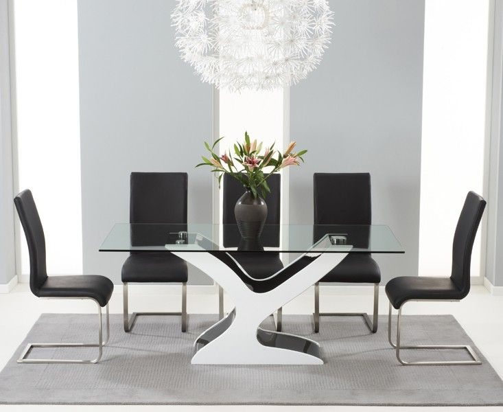 Natalie Black And White High Gloss Glass Top Dining Table