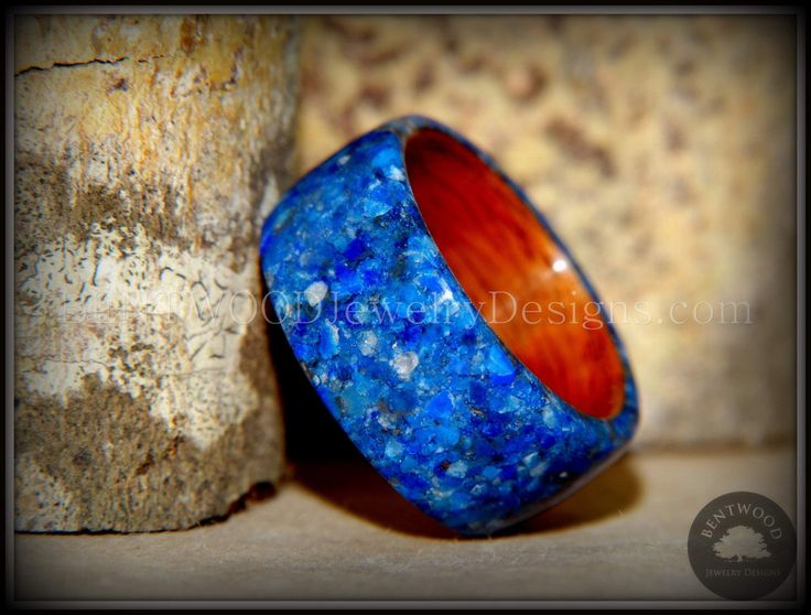 Bentwood Wood Rings Rosewod Wooden Ring with Blue Lapis Inlay